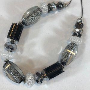 Chunky glass bead sharp statement necklace